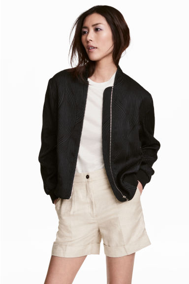 Textured bomber jacket - Black - Ladies | H&M 1
