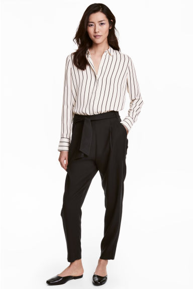 Tie-belt trousers - Black - Ladies | H&M 1