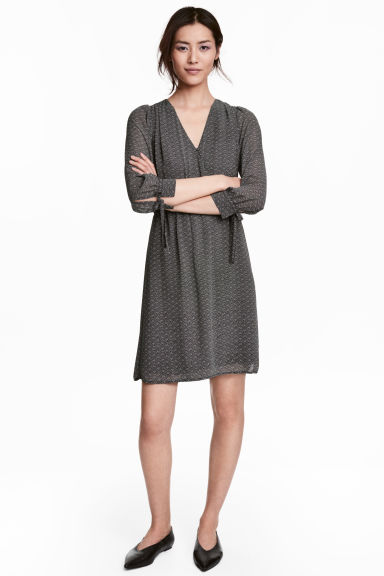 Wrapover dress - Black/Patterned -  | H&M