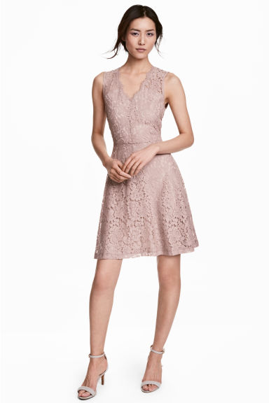 V-neck lace dress - Light pink - Ladies | H&M 1
