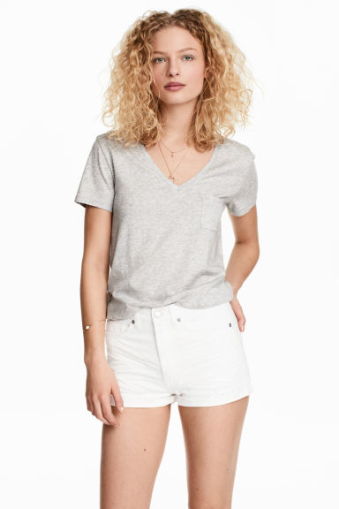 V-neck top - Light grey marl - Ladies | H&M 1