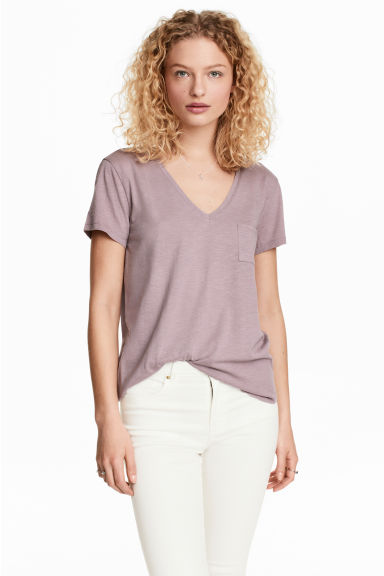 V領上衣 - Heather purple - Ladies | H&M 1