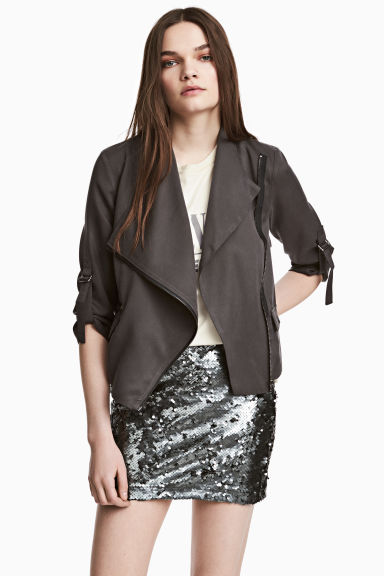 Short lyocell jacket - Dark grey - Ladies | H&M CN 1