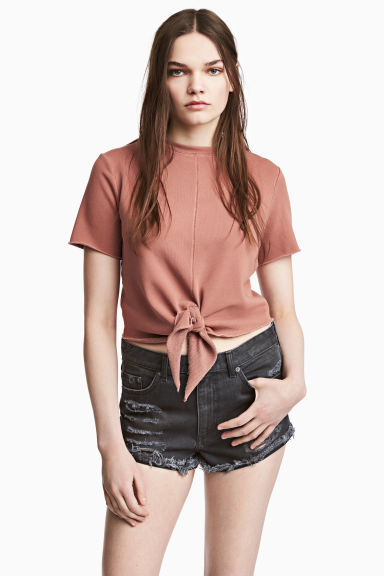 Short-sleeved sweatshirt - Light terracotta - Ladies | H&M CN