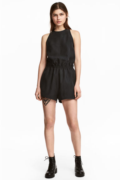 Sleeveless playsuit - Black - Ladies | H&M 1