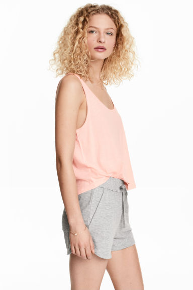 Short sleeveless top - Powder pink - Ladies | H&M IE