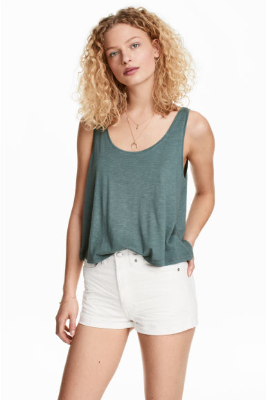 Short sleeveless top - Petrol marl -  | H&M CN 1