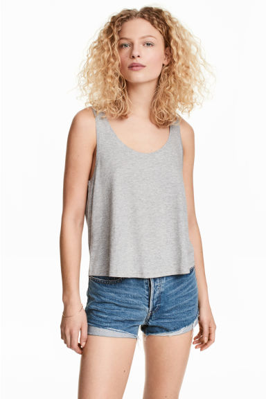 Short sleeveless top - Grey marl - Ladies | H&M 1