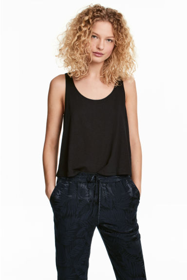 Short sleeveless top - Black - Ladies | H&M CN 1