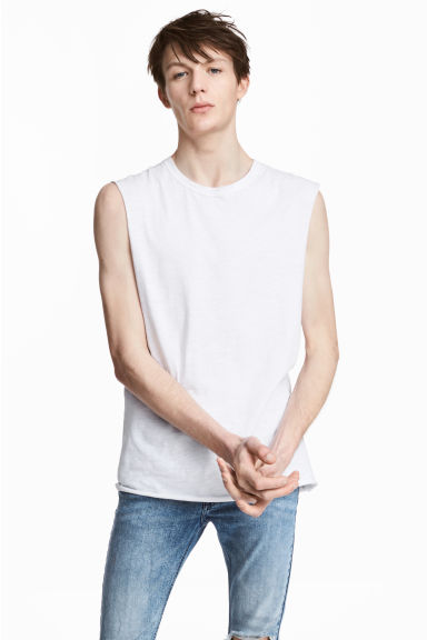 Slub jersey vest top - White - Men | H&M 1