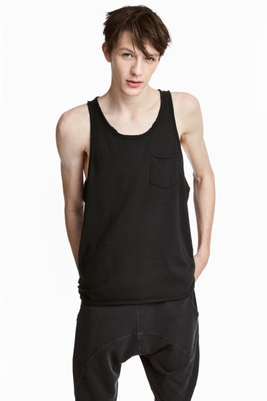 Slub jersey vest top - Black - Men | H&M 1