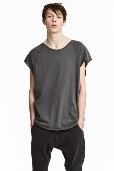 T-shirt en jersey flammé - Noir washed out -  | H&M FR