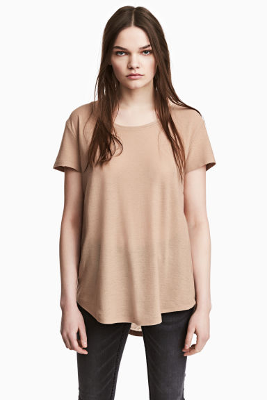 Jersey crêpe top - Beige - Ladies | H&M 1
