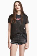 Denim shorts Skinny Regular - Black washed out - Ladies | H&M IE 2