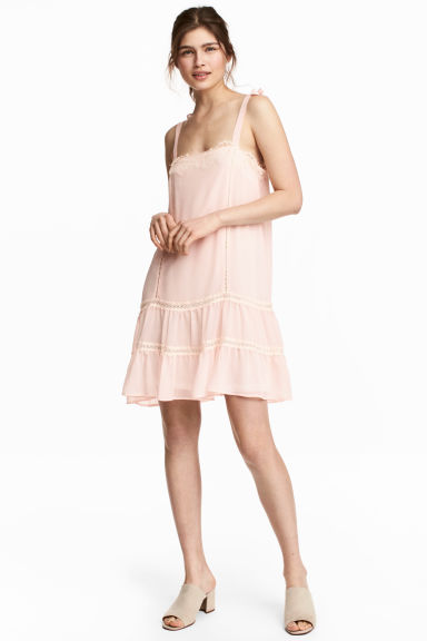 Sleeveless dress with lace - Powder pink - Ladies | H&M CN 1