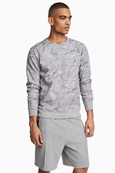 Long-sleeved sports top - Grey/Patterned - Men | H&M