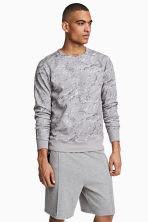 Long-sleeved sports top - Grey/Patterned - Men | H&M CN 1
