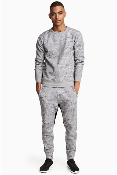 Jersey sports joggers - Grey/Patterned - Men | H&M CN 1