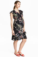 MAMA Wrapover dress - Black/Floral -  | H&M 1