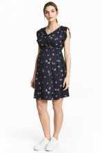 MAMA Frilled-sleeve dress  - Dark blue/Birds - Ladies | H&M 1