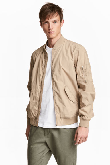 Cotton bomber jacket - Beige - Men | H&M 1