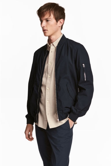 Cotton bomber jacket - Dark blue - Men | H&M 1