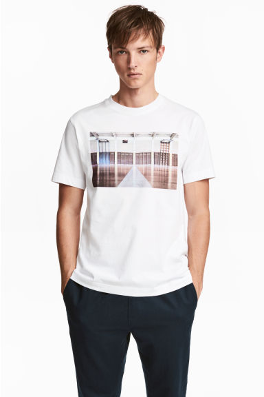 T-shirt - White/Photo - Men | H&M CN