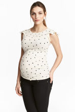 MAMA Top with flounced sleeves - Natural white/Heart - Ladies | H&M CN 1