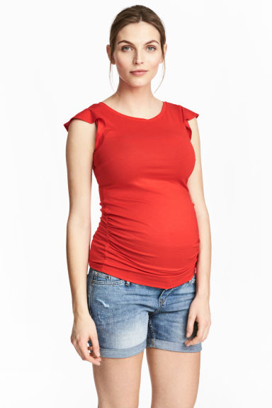 MAMA Top with flounced sleeves - Red - Ladies | H&M 1