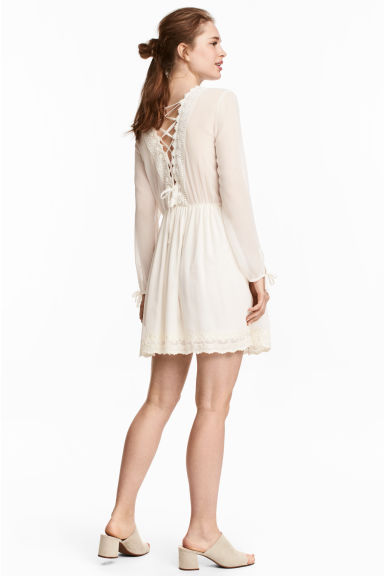 Dress with lace trim - Natural white - Ladies | H&M CN
