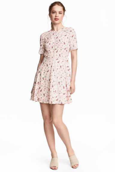 Short dress - Light pink/Floral - Ladies | H&M 1