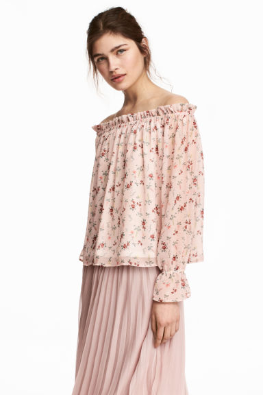 Off-the-shoulder blouse - Light pink/Floral - Ladies | H&M GB 1