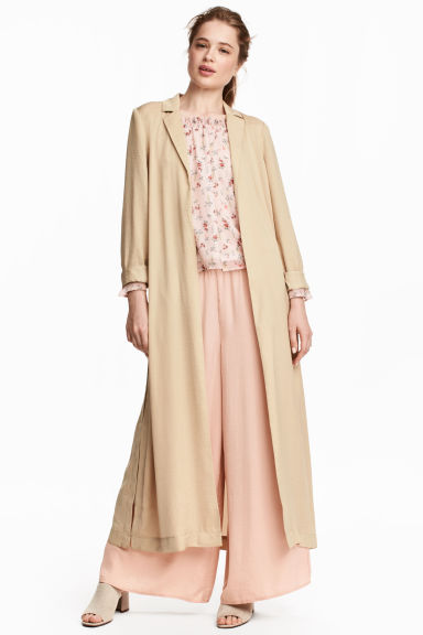 Long satin coat - Beige - Ladies | H&M CN 1