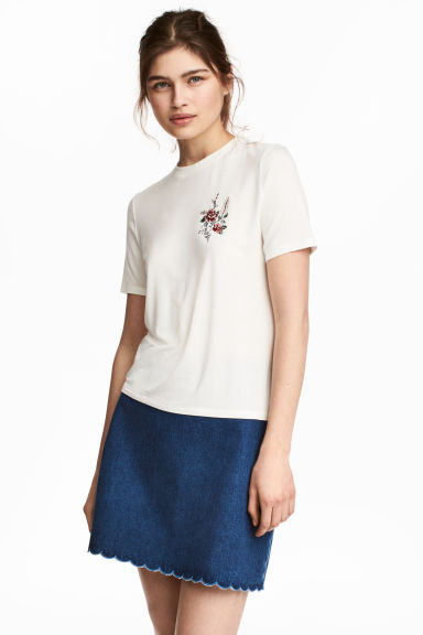 Short twill skirt - Denim blue - Ladies | H&M CN 1