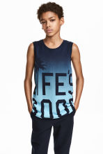 Printed vest top - Dark blue/Turquoise - Kids | H&M CN 1