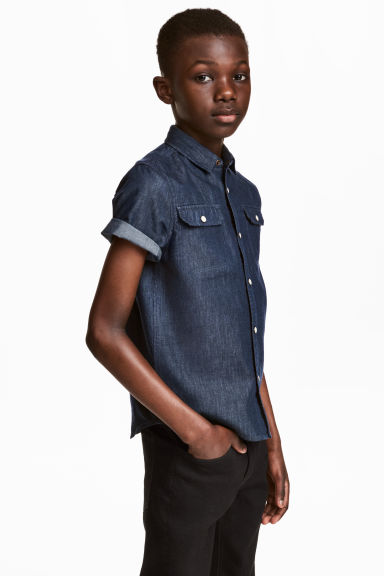 Camicia a maniche corte - Blu denim scuro - BAMBINO | H&M IT 1