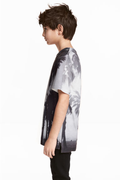 Printed T-shirt - Light grey/Palms - Kids | H&M CN 1