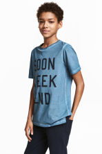 Printed T-shirt - Blue washed out -  | H&M 1