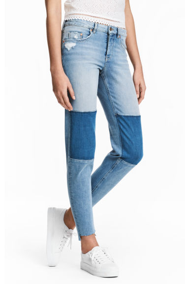 Straight Cropped Regular Jeans - Light denim blue - Ladies | H&M 1