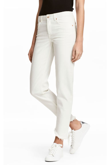 Straight Cropped Jeans - White - Ladies | H&M GB 1
