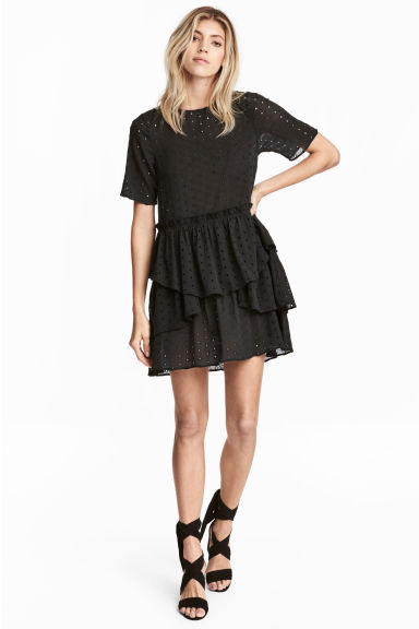 Hole-embroidered dress - Nearly black - Ladies | H&M