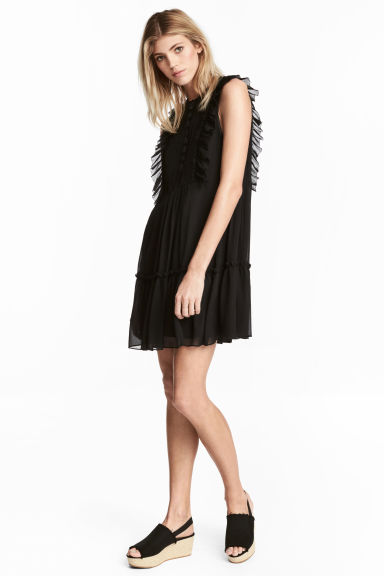 Chiffon A-line dress - Black - Ladies | H&M 1