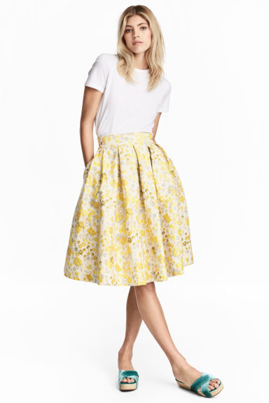 Jacquard-weave skirt - Light beige/Floral - Ladies | H&M CN 1