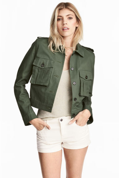 Short cargo jacket - Dark green - Ladies | H&M CN 1