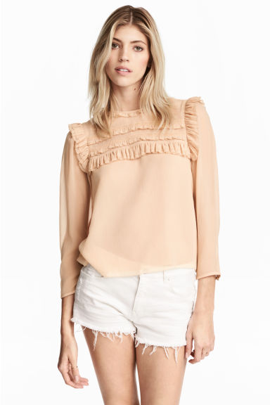 Frilled chiffon blouse - Powder beige - Ladies | H&M