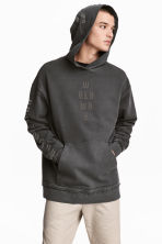 Printed hooded top - Black washed out - Men | H&M CN 1