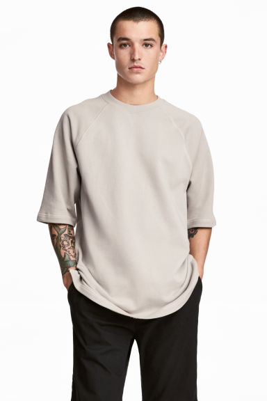 Short-sleeved sweatshirt - Beige - Men | H&M 1