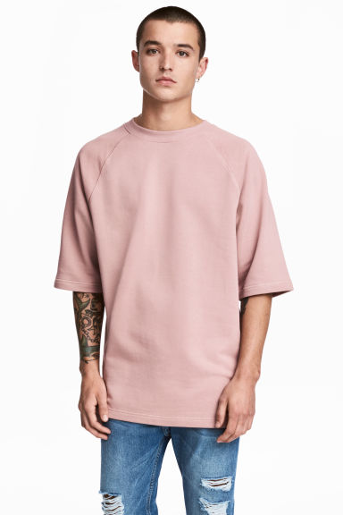 Short-sleeved sweatshirt - Pale pink - Men | H&M 1