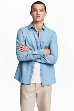 Washed denim shirt - Light denim blue - Men | H&M 2