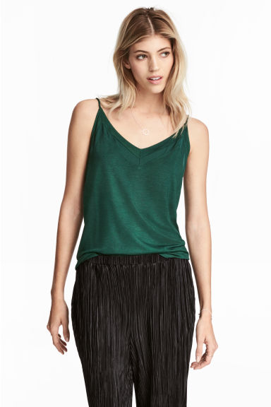 V領細肩帶上衣 - Dark green - Ladies | H&M 1